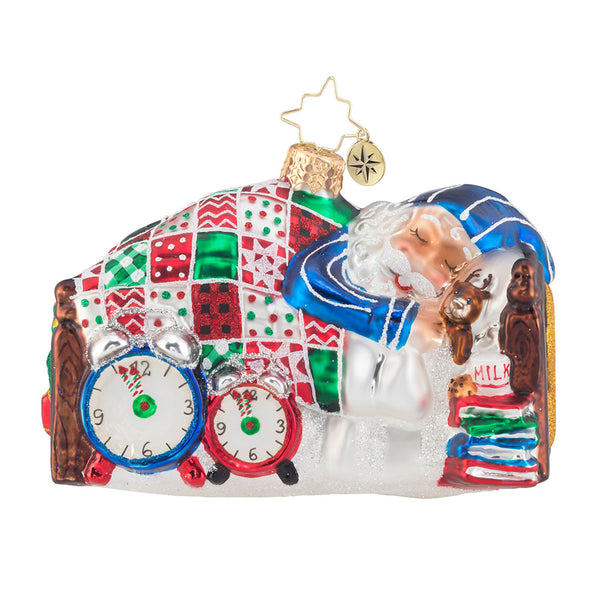 Christopher Radko Sleepy Mr. Claus Santa quilt bed Ornament