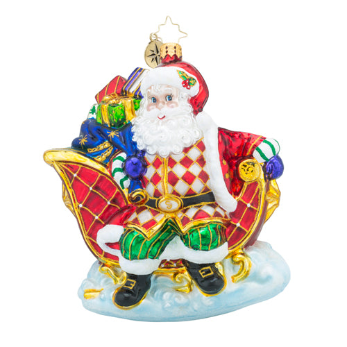 Christopher Radko SLEIGH VALET SANTA Ornament NEW SALE