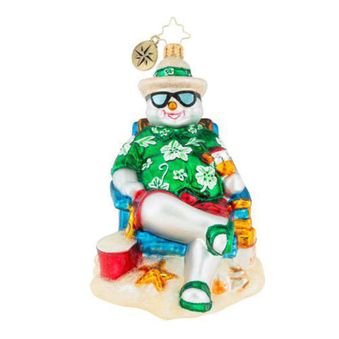 Christopher Radko Slush Snowman Beach Vacation Ornament