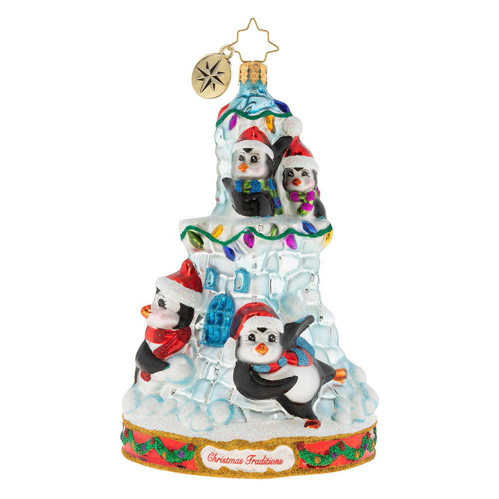 Christopher Radko Snowball Fight Penguin Ornament