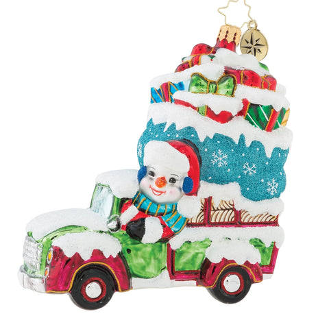 Christopher Radko Snowman Picks It Up! Truck Ornament Sale