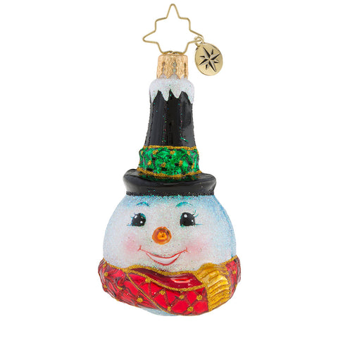 Christopher Radko Snowy Stove Pipe Little Gem Snowman Ornament