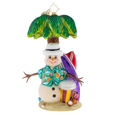 Christopher Radko Surf's Up, Snowman! Beach Ornament New 2018