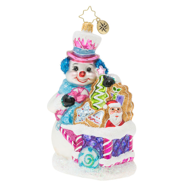 Christopher Radko Tasty Snow Confectionery Snowman Ornament