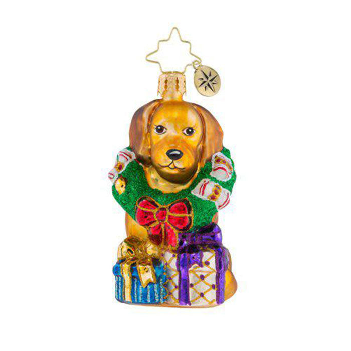 Christopher Radko The Retriever Gets It Dog Little Gem Ornament New