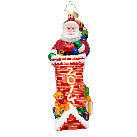 Christopher Radko Dated 2014 TIGHT FIT Santa Chimney ornament