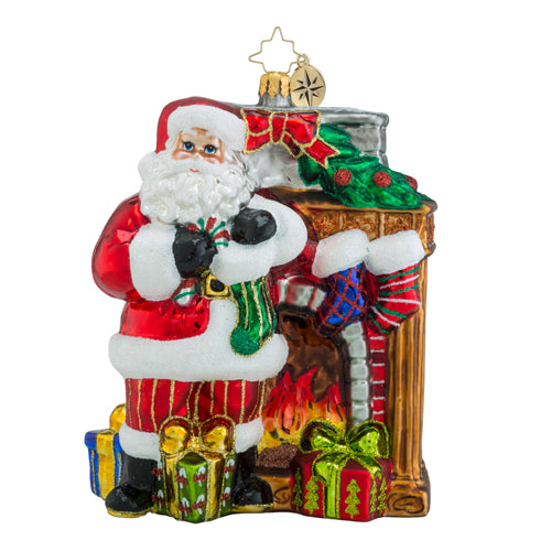 Christopher Radko TOASTY TRADITIONS Santa & Stockings ornament