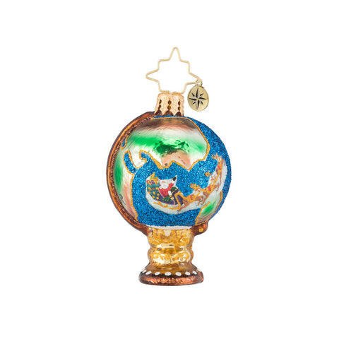 Christopher Radko Travel in Santa Style Gem! Globe Ornament