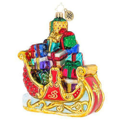 Christopher Radko Traveling First Class Sleigh Ornament New 2018