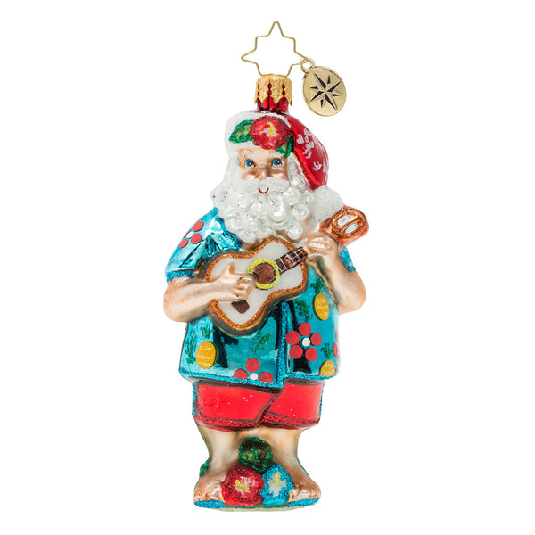 Christopher Radko Tropical Ukulele Santa Ornament