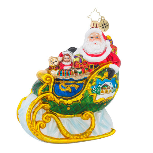 Christopher Radko VILLAGE SLEIGH RIDE SANTA Ornament