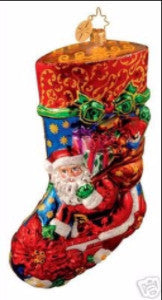 Radko Portrait Stocking WINTER BLOSSOMS Santa Ornament