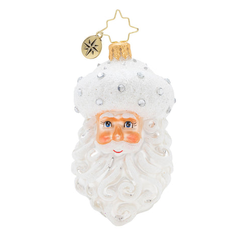 Christopher Radko Winter Frost Santa Gem White Ornament