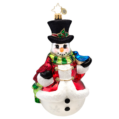 Christopher Radko Winter's Trill Snowman & Bird ornament