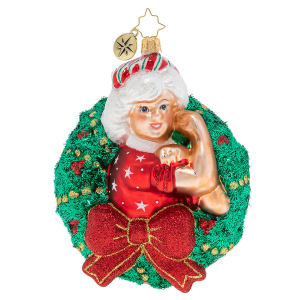 Christopher Radko Women Power Mrs. Claus Wreath Ornament