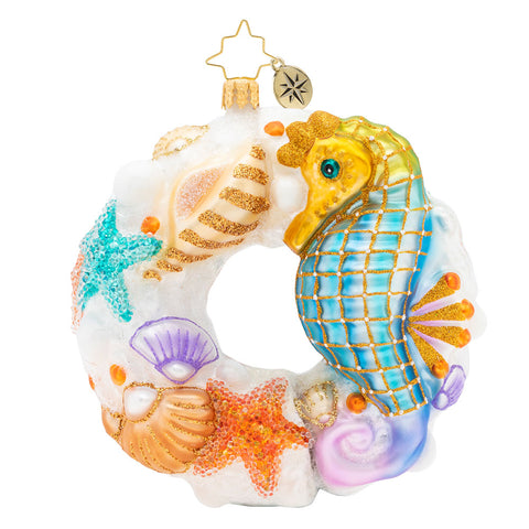 Christopher Radko Wondrous Waters Wreath Sea Horse Ornament