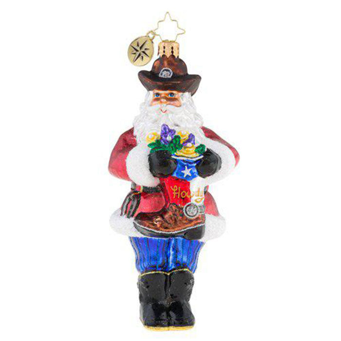 Christopher Radko Yellow Rose Of Texas Santa Ornament New 2018