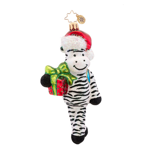 Christopher Radko Zack the Zebra Santa ornament