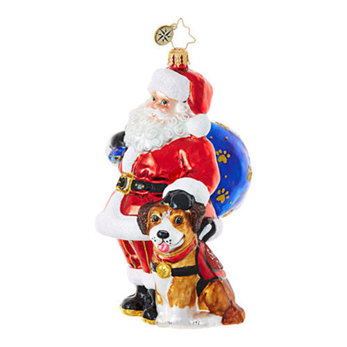 Christopher Radko READY TO SERVE Santa and Service Dog Ornament New