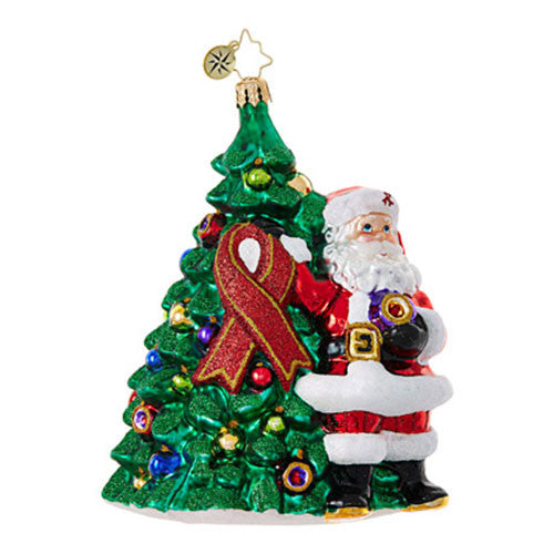 Radko AIDS 2017 RED RIBBON Claus Tree Ornament NEW 2017