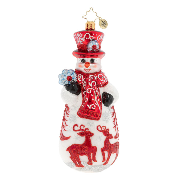 Christopher Radko Ruby Red Snowman Reindeer Ornament