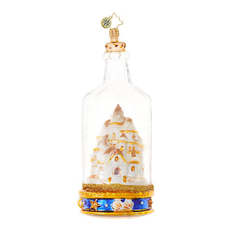Christopher Radko SAND CASTLE in a Bottle Beach ornament
