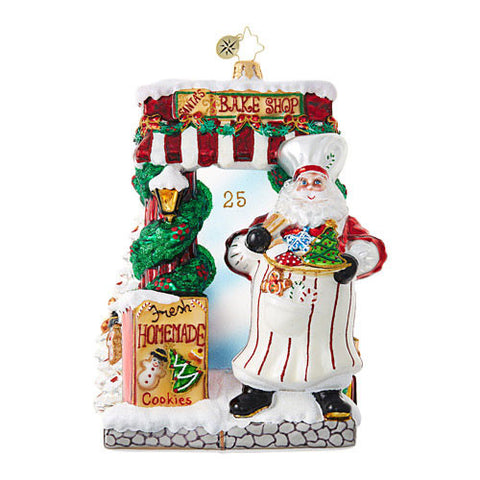Christopher Radko BAKERY SANTA Window Ornament New