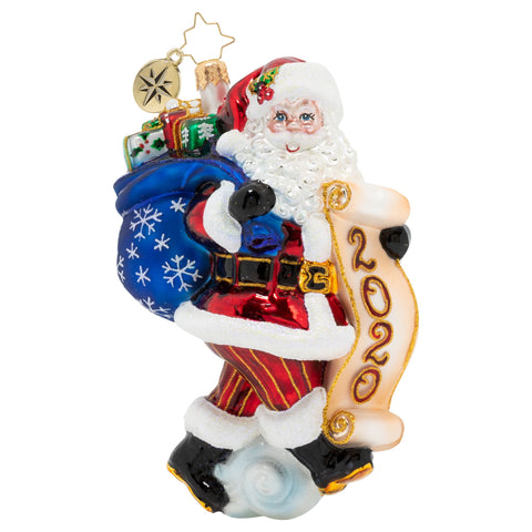 Christopher Radko 2020 Dated Santa Saves The Date Ornament
