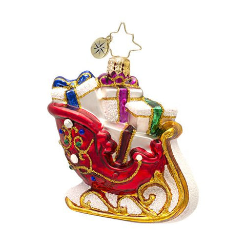 Radko Little Gems  Scarlet Runner Sleigh Gem ornament NEW