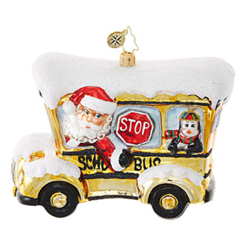 Radko School Bus Santa Christmas Ornament New 2017
