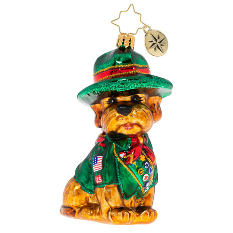 Christopher Radko Boy Scout's Honor Puppy Dog Ornament