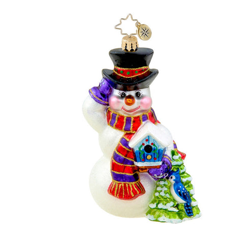 Radko SEASONAL FRIENDS Snowman  & Bird Christmas ornament NEW