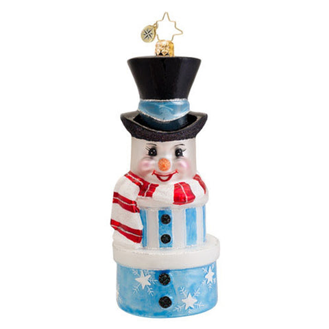 Radko SNOWY STACK snowman Christmas ornament NEW blue