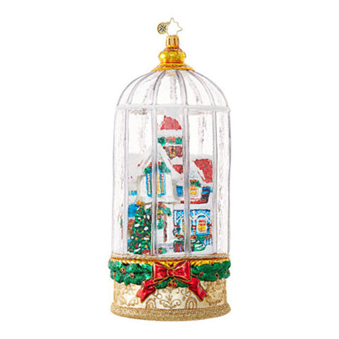 Christopher Radko A SNOWY VICTORIAN CAGE House Dome Ornament