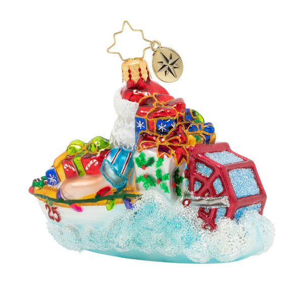 Christopher Radko Speed Boat Santa Ornament