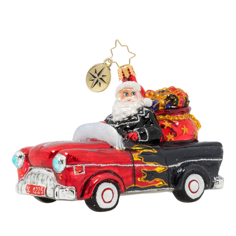 Christopher Radko Speeding into Christmas Car Hot Rod Ornament