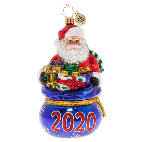 Christopher Radko 2020 Dated Spilling Over With Surprises Santa Ornament