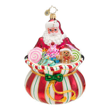 Radko Sweet Tooth Santa Peppermint Candy ornament NEW