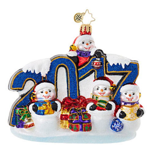 Radko 2017 Dated THIS YEAR WAS BIG Snowman Ornament New