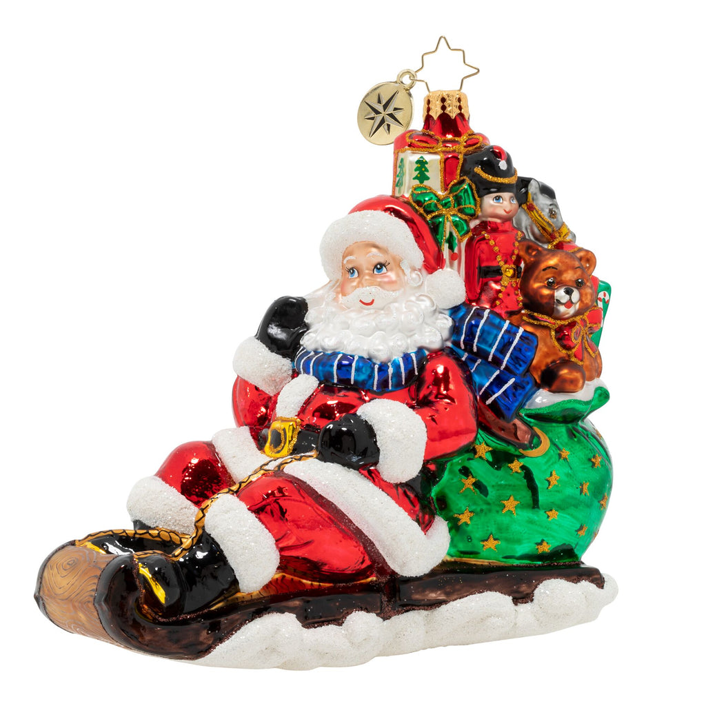 Christopher Radko Timely Toboggan Delivery Santa Ornament
