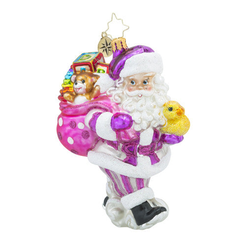 Christopher Radko Baby Toyland Deliveries Girl Pink Santa Ornament New