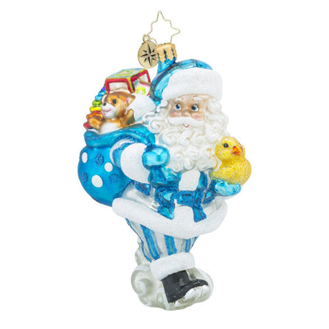 Christopher Radko Baby Toyland Deliveries Boy Santa Blue Ornament