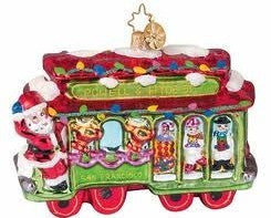 RADKO TROLLEY JOLLY Christmas Cable Car ornament NEW