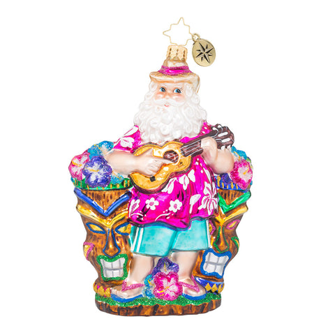 Christopher Radko UKULELE NICK Hawaiian Santa Ornament New
