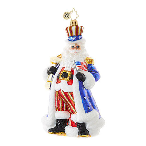 Christopher Radko Patriotic UNCLE SAM WANTS YOU Santa Ornament NEW