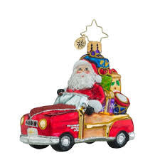 Radko Little Gems Vintage Ride Santa Car Gem Ornament New