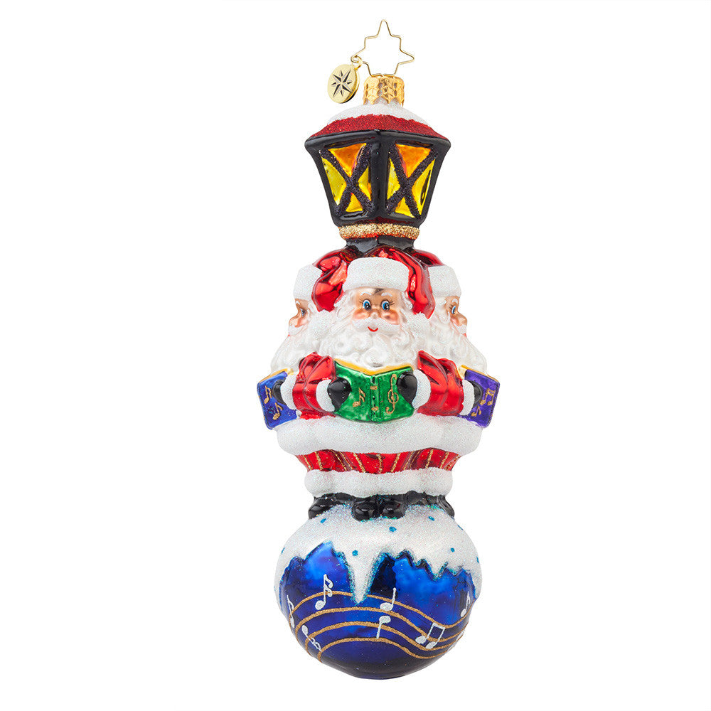 Christopher Radko WE WISH YOU A MERRY CHRISTMAS Caroling Santa ornament