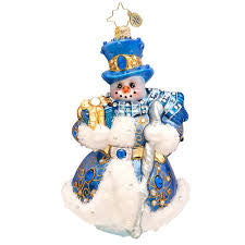 Radko WINTER FROST Snowman Blue Bejeweled Limited ornament NEW