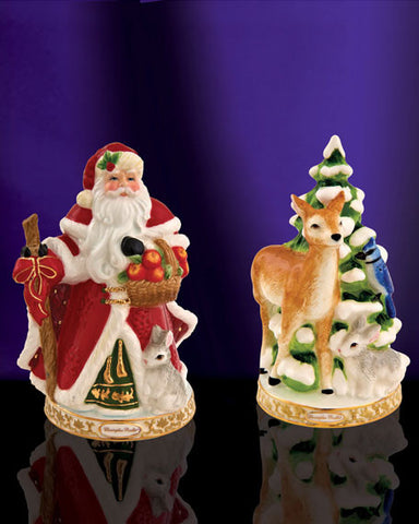 Christopher Radko SALT & PEPPER Shakers Winter Forest Santa & Reindeer