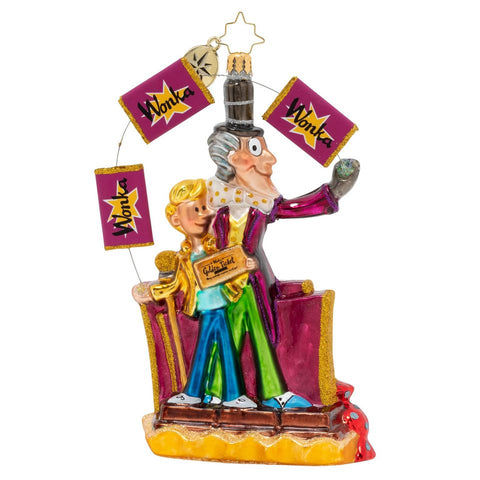 Christopher Radko Willy Wonka's Golden Ticket! Candy Ornament